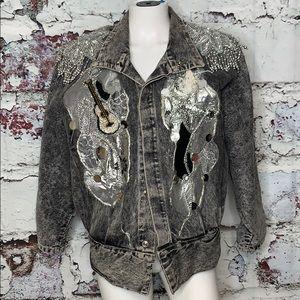 Vintage acid washed sequins coat jacket